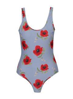 Modro-červené květované jednodílné plavky Y.A.S  Bloom
