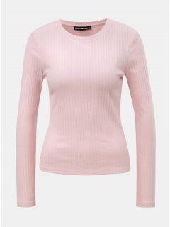 Světle růžové žebrované tričko s kulatým výstřihem TALLY WEiJL