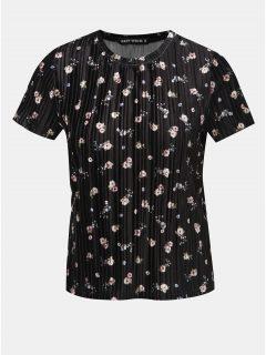 Černé sametové květované žebrované tričko TALLY WEiJL