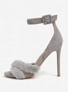 Šedé sandálky s umělou kožešinou MISSGUIDED