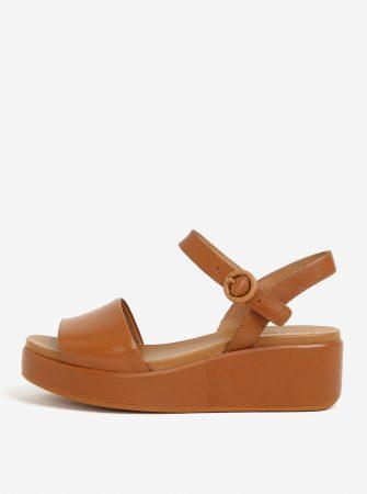 Hnědé dámské kožené sandály na platformě Camper Misia - Dámské sandály e845c25171