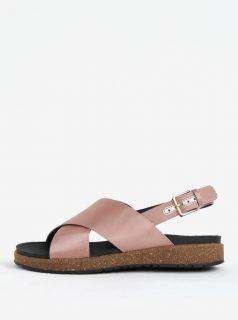 Starorůžové dámské metalické sandály Woden Sille