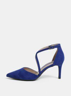 Modré sandálky v semišové úpravě na jehlovém podpatku Dorothy Perkins Elsa