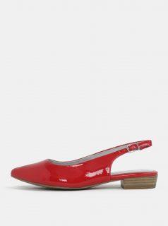Červené lesklé sandálky s plnou špicí Tamaris