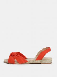 Oranžové sandálky na nízkém klínku Dorothy Perkins
