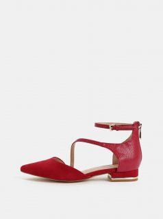 Vínové koženkové sandálky se špičkou v semišové úpravě  ALDO Acemma
