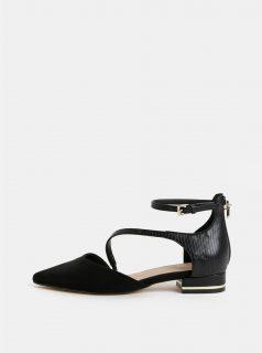 Černé koženkové sandálky se špičkou v semišové úpravě ALDO Acemma