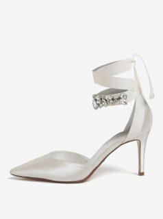 Krémové saténové sandálky se stuhou kolem kotníku Dune London Diamond