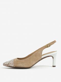 Hnědé semišové sandálky se vzorovanou špičkou Geox Bibbiana