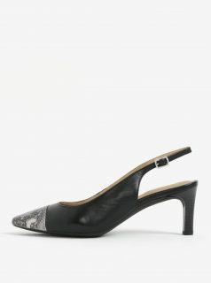 Černé kožené sandálky se vzorovanou špičkou Geox Bibbiana