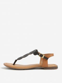 Tmavě hnědé kožené perforované sandály s.Oliver