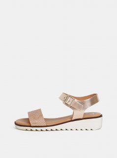 Metalické kožené sandály na klínku v růžovozlaté barvě OJJU