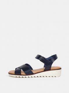 Tmavě modré kožené sandály na klínku OJJU