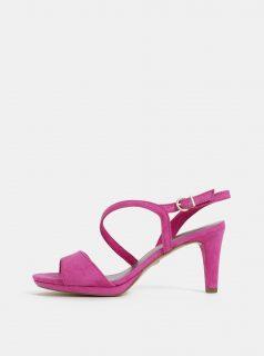 Tmavě růžové sandálky v semišové úpravě Tamaris