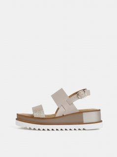 Béžové kožené sandály na platformě Tamaris