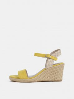 Žluté sandálky v semišové úpravě na klínku Tamaris