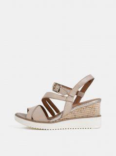 Béžové kožené sandálky na klínku Tamaris