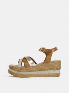 Sandálky v hnědé a zlaté barvě na platformě Tamaris