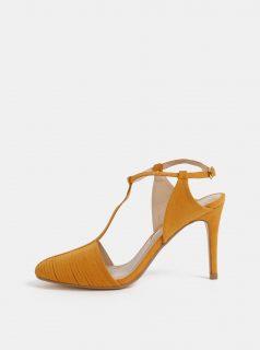Hořčicové sandálky v semišové úpravě Dorothy Perkins