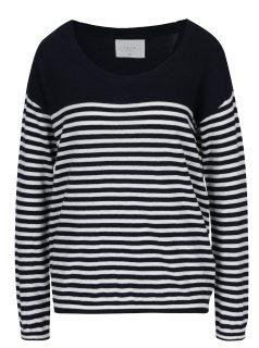 Tmavě modrý pruhovaný svetr s knoflíky YAYA