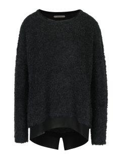 Tmavě šedý svetr s příměsí vlny a všitou halenkou Skunkfunk