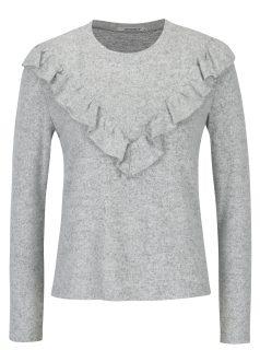 Světle šedý žíhaný svetr s volánem Haily´s Ivana