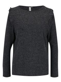 Tmavě šedý žíhaný svetr s volánem na rameni s.Oliver