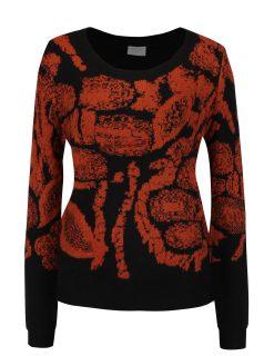 Oranžovo-černý vzorovaný svetr VILA Viki