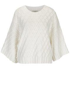 Bílý svetr s jemným vzorem a širokými rukávy Selected Femme Ivy