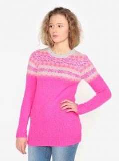 Růžový vzorovaný svetr Oasis Fairisle