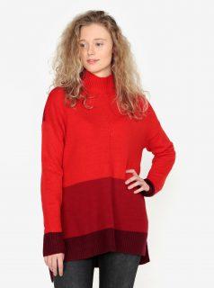 Červený dlouhý oversize svetr s rozparky na bocích Oasis Funnel 0649ba5797