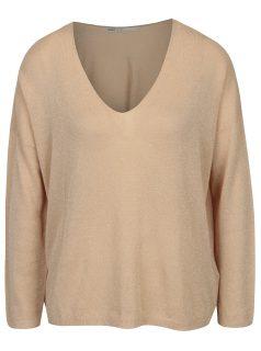 Béžový třpytivý lehký oversize svetr ONLY Geena