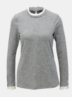 Šedý žíhaný lehký svetr s volánky Dorothy Perkins