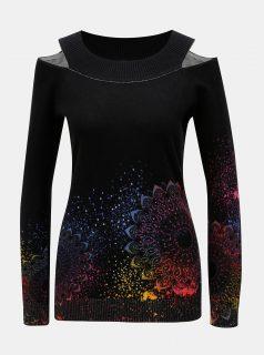Černý vzorovaný svetr s průstřihy na ramenou Desigual Shimla