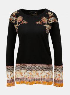 Černý svetr s výšivkou a s všitou halenkovou částí Desigual Noor