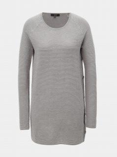 Šedý strukturovaný svetr s plastickým vzorem Yest