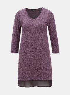 Fialový lehký dlouhý svetr s detaily na bocích Yest