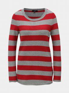Šedo-červený pruhovaný svetr s knoflíky na boku Yest