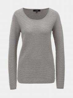 Šedý žebrovaný svetr s dlouhým rukávem Yest