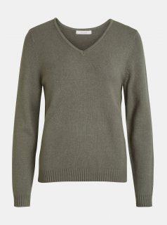 Khaki svetr s véčkovým výstřihem VILA Viril