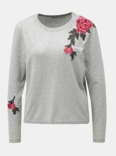 Světle šedý žíhaný svetr s květovanou nášivkou ONLY Florida
