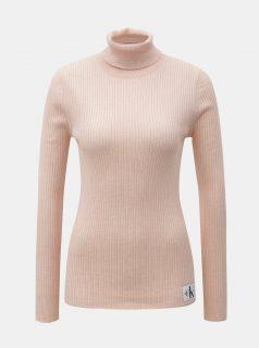 Růžový dámský rolák s nášivkou a příměsí vlny Calvin Klein Jeans