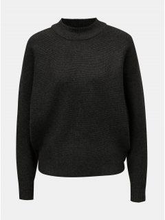 Tmavě šedý volný svetr s netopýřími rukávy Apricot