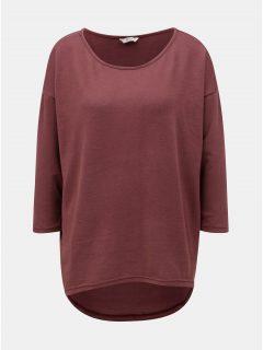 Vínový volný svetr s prodlouženým zadním dílem ONLY Elcos