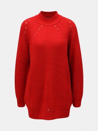 e1c3ef44119 Červený oversize svetr s děrovaným vzorem VERO MODA Jay - Dámské svetry