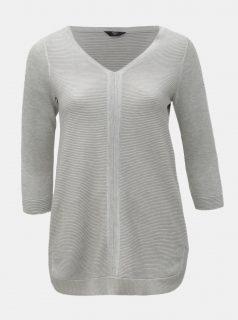 Světle šedý lehký svetr s 3/4 rukávem M&Co Plus