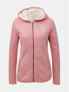 Růžový dámský fleecový svetr na zip s vnitřním umělým kožíškem Roxy Cosy