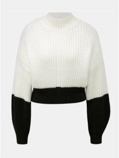 Černo-bílý zkrácený volný svetr se stojáčkem Miss Selfridge