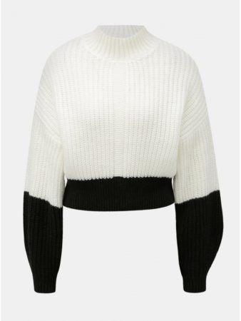 ed81da0c6b9 Černo-bílý zkrácený volný svetr se stojáčkem Miss Selfridge - Dámské ...