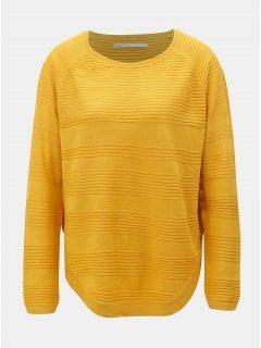 Hořčicový lehký svetr s rozparkem na boku ONLY Caviar